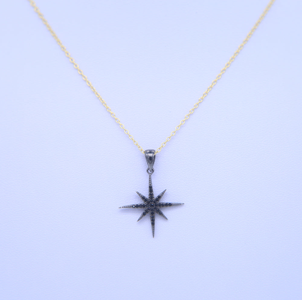 High quality 925 sterling silver gold black color north star sun burst pendant black star necklace