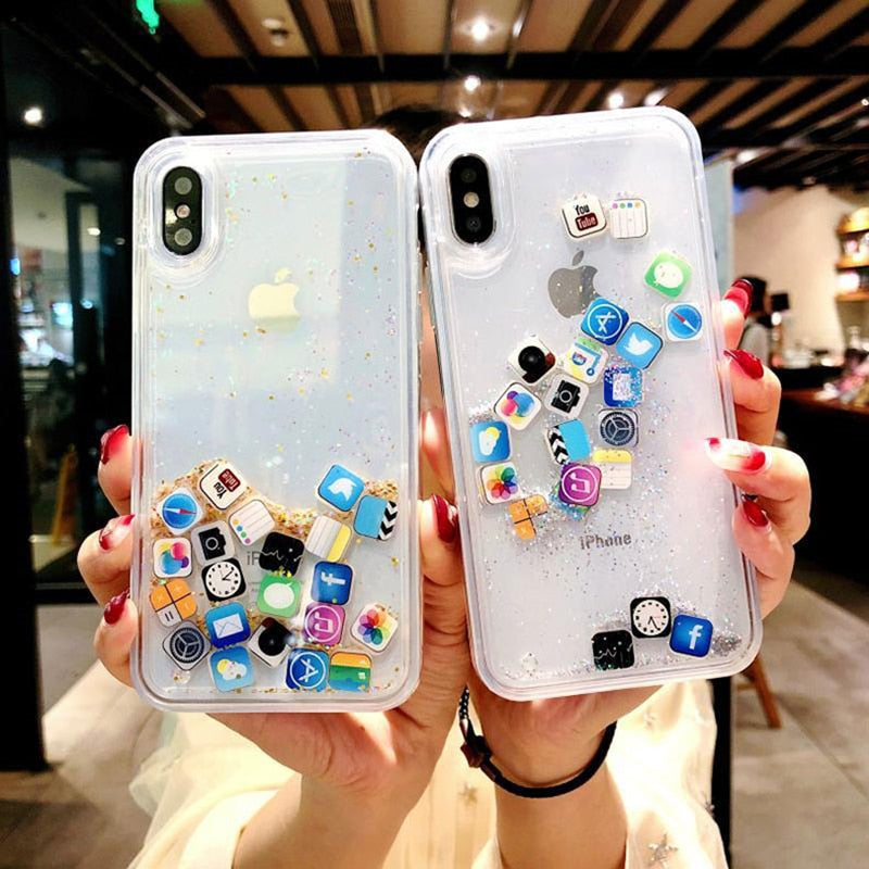 Fashion Cute Apps Icon Emoji Liquid Glitter Quicksand Case for iPhone 6 6S 7 8 Plus Hard Cover For iPhone X XR XS Max Fundas