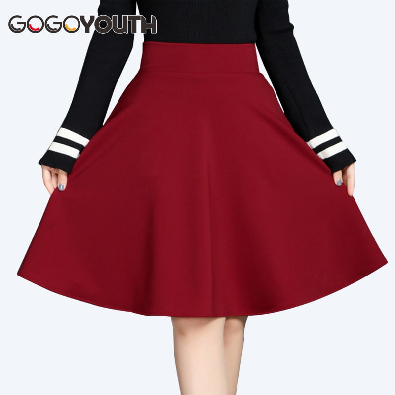 Gogoyouth Midi Length Pleated Skirts Womens 2019 Summer High Waist Shorts Sun Skirt Female Red Black Ladies Office Skirt Femme
