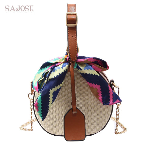d7625347b557 Women Straw Bag Crossbody Bags For Girls Fashion Scarves Round Saddle Bag  Rattan Woven Shoulder Messenger Bags Lady Tote Handbag