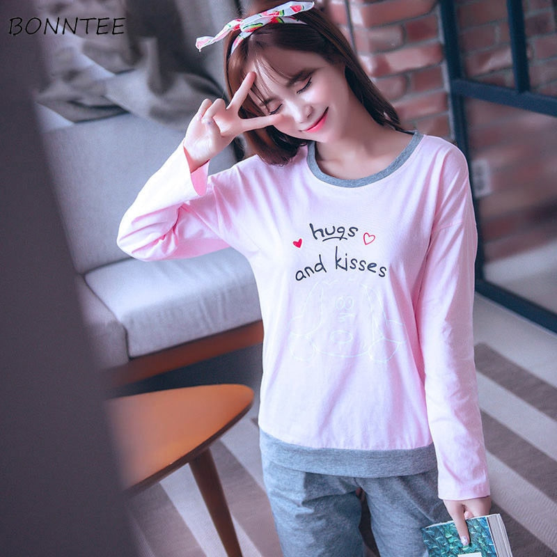 Pajama Sets Women Students Lovely Trendy Long Sleeve Loose Cartoon Printed Womens Pajamas Daily Home Clothing Korean Style Love