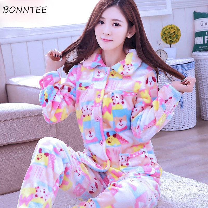 Pajama Sets Women Thicker Warm Trendy Cartoon Printed Pajamas Womens Pockets Single Breasted Korean Style Leisure Home Clothing