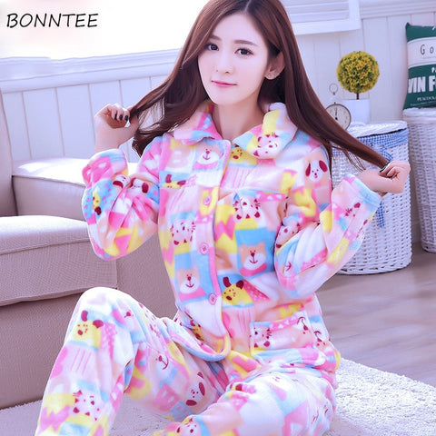 7647fa1fe3 Pajama Sets Women Thicker Warm Trendy Cartoon Printed Pajamas Womens  Pockets Single Breasted Korean Style Leisure Home Clothing