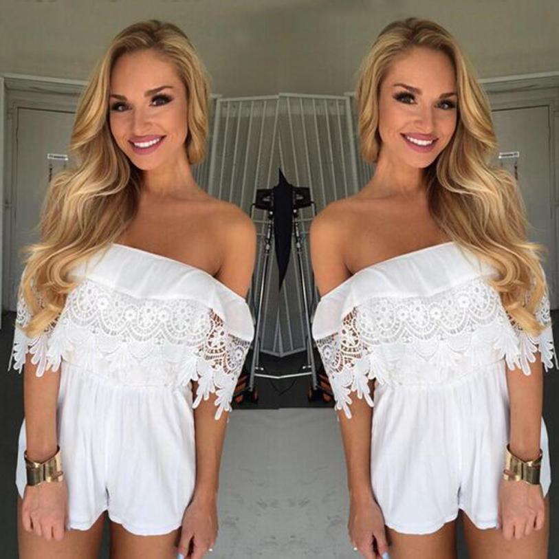 KANCOOLD Bodysuit new high quality Chiffon Off Shoulder Lace Playsuit Ladies Summer Beach Clothes Bodysuits women feb6