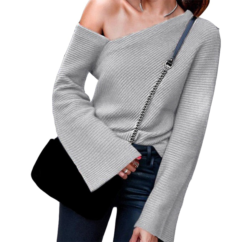 Knitted Sexy Spring Autumn Sweaters Thin Women Flare Long Sleeve Top Shirts Solid Jumpers New Pullovers Casual Streetwear M0389