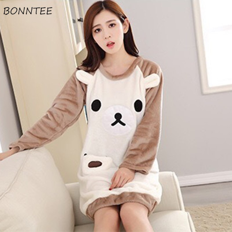 2f0581685e Nightgowns Cartoon Kawaii Women Thicken Soft Warm Flannel Homewear Womens  Long Sleeve Round Neck Nightdress Students