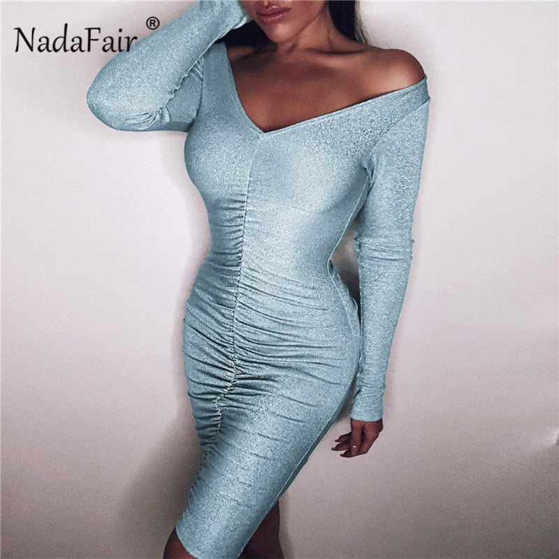 sexy club bodycon dress women long sleeve draped slim party pencil dress off shoulder wrap mini dress 2019 spring
