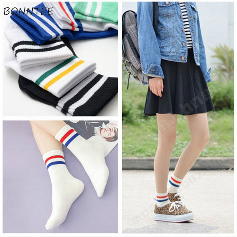 Socks Women Cotton Striped Harajuku Casual Fashion Students Soft Funny Colorful Female Kawaii Simple Daily Breathable Korean New