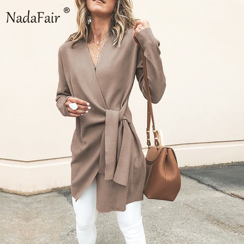 Nadafair long winter wool coats women autumn v neck lace-up casual slim blend overcoats woman long coats winter 2018