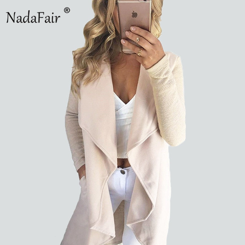 Nadafair asymmetric long woolen blend knitted patchwork jacket coats women autumn winter open stitch drop hem casual outwear