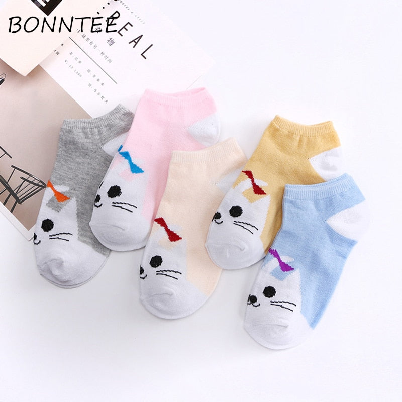 Socks Women Kawaii Breathable Cartoon Animals Candy Colors Casual Chic Lovely Fashion Womens Sock All-match Students Elasticity