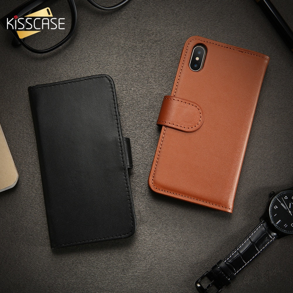 KISSCASE Leather Flip Case For iPhone X 10 Wallet Case For iPhone 6 6S 7 Plus Luxury Card Holder Cover For iPhone 5 5S SE 4 4S