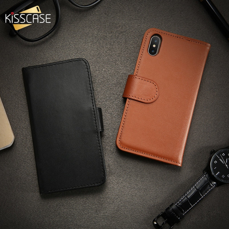523857414 KISSCASE Leather Flip Case For iPhone X 10 Wallet Case For iPhone 6 6S 7  Plus