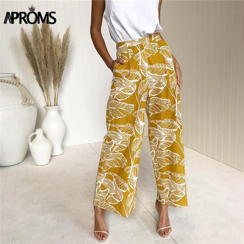 Aproms Boho Festival Print Wide Leg Pants Casual High Waist Side Pocket Long Pant Women 2019 Spring Loose Trouser Pantalon Femme