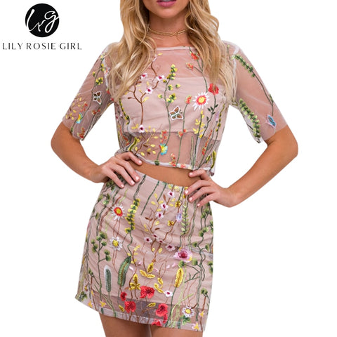 e135bbd4171 Lily Rosie Girl Women 2017 Embroidery Floral Summer Romper Two Piece Set  Sexy Boho Style Salopette Femme Playsuits Overalls