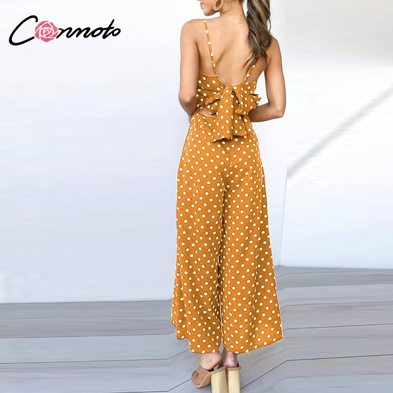 ba9589bae88 Conmoto Casual Spaghetti Strap Wide Leg Jumpsuit 2019 Summer Polka Dot High  Waist Long Rompers Sexy Backless Plus Size Jumpsuit