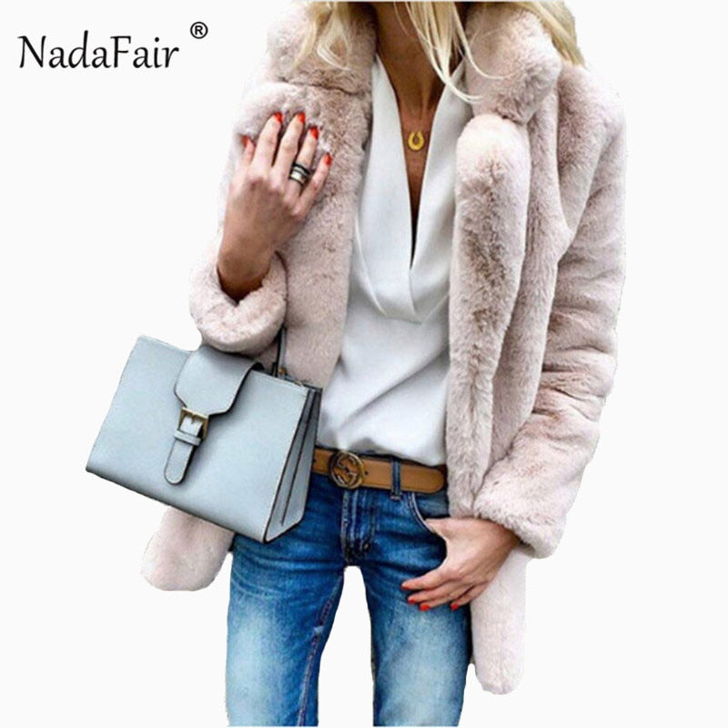 Nadafair plus size winter thick long faux fur coat women elegant soft plush outwear female autumn warm overcoat fur jacket