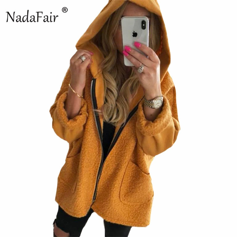 Nadafair women fleece fur long hooded jacket coats female faux shearling teddy coat winter thick casual outerwear loose overcoat