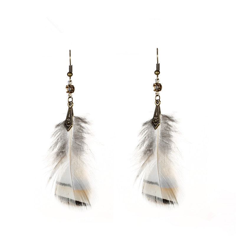 Fashion handmade alloy white feather earring Boho ethnic long feather dangle earrings for women Charm jewellery
