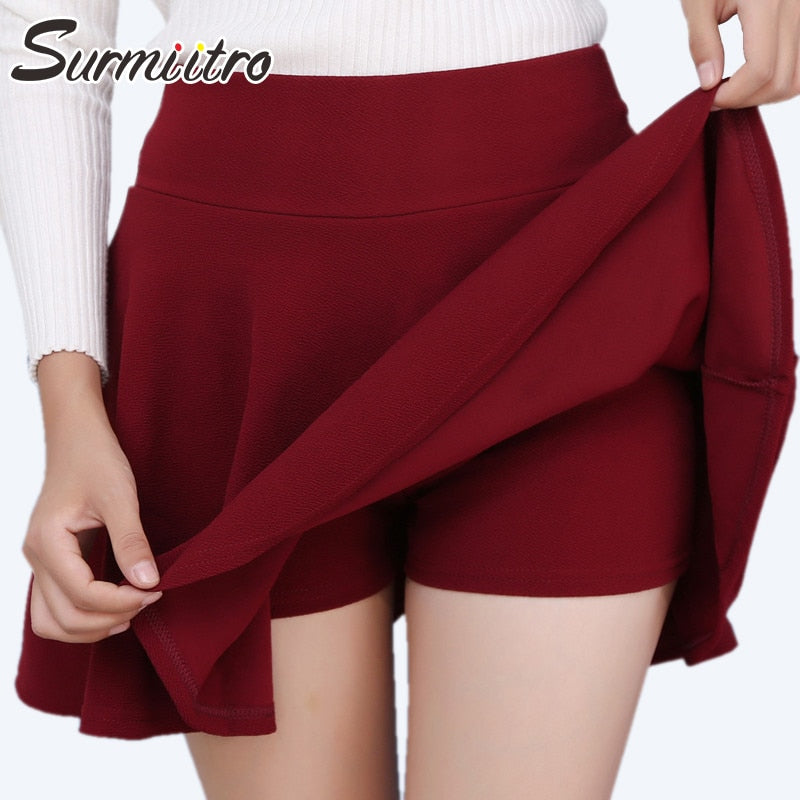 Gogoyouth Plus Size 5XL Shorts Skirts Womens 2019 Summer Autumn High Waist Pleated Skirt Female Korean Elegant Sun School Skirt