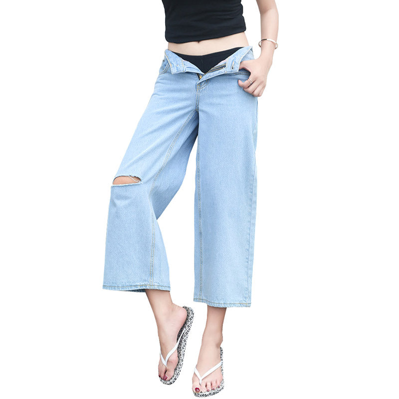 New Denim Jeans For Women  High Waist Cotton Wide Leg Jeans Loose Straight Ankle Length Jeans Pants Female #9593
