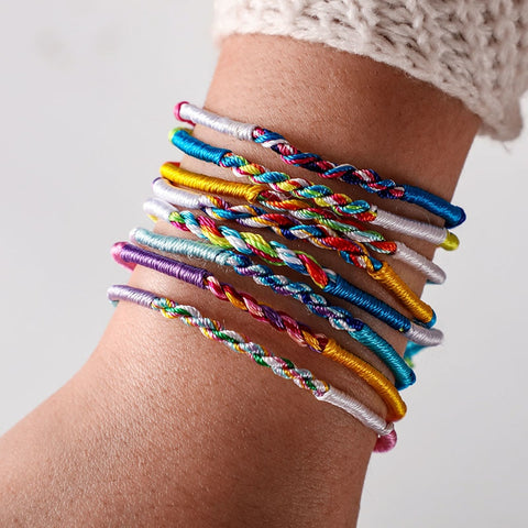 Tocona Bohemian Colorful Cotton Rope Friendship Braided Bracelets & Bangles Ethnic Couple Fashion Jewelry Mens Bracelets 6777