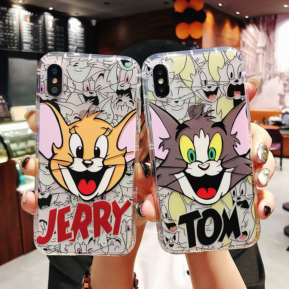 Beily Tom Jerry Clear Case for iPhone XS Max XR 7 8 6 6S Plus Cute Cartoon Airbag Shockproof Dirt-resistant Soft Cover Fundas