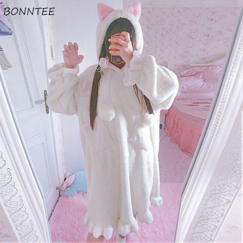 Nightgowns Hooded Solid Lovely Winter Sleepwear Women Leisure Thicken Warm Flannel Nightdress Womens Kawaii Ladies Long Sleeve