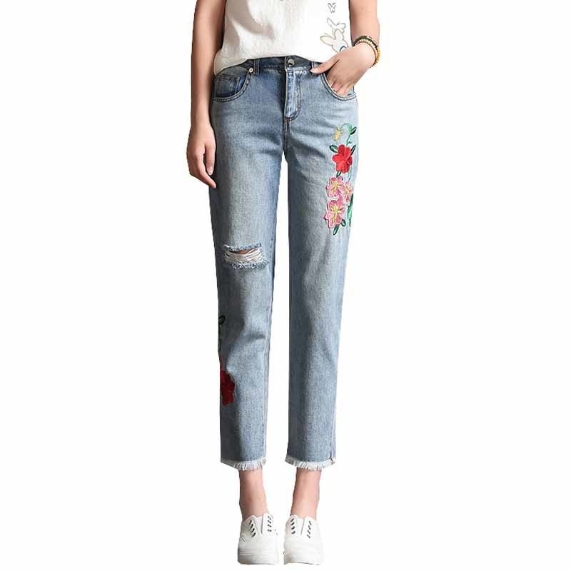 New Women Harajuku Denim Jeans Rose Embroidery Hole Ripped Jeans Ankle Length Straight Jeans Female #1747