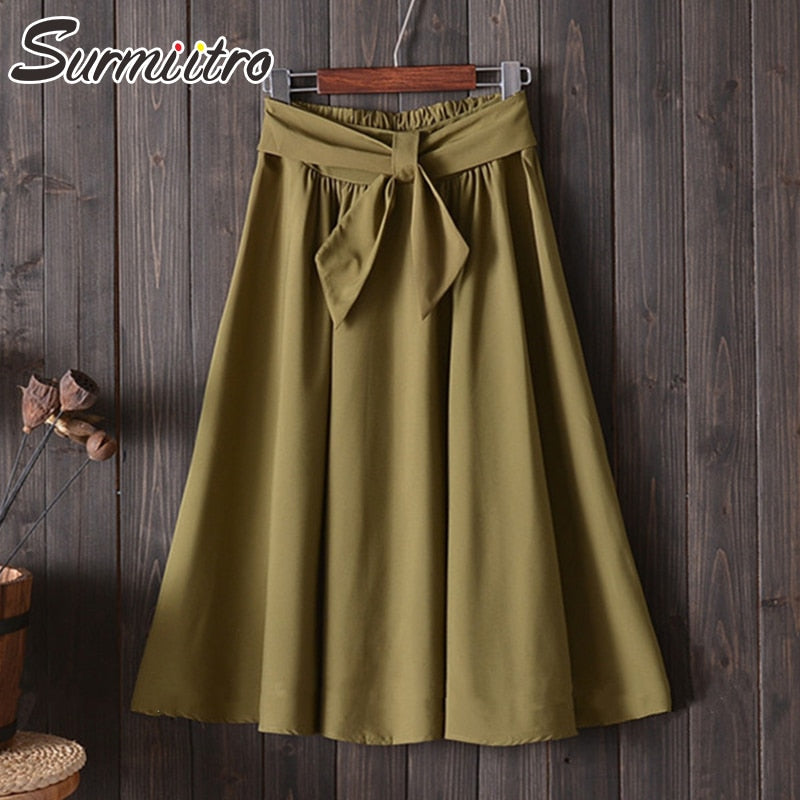 Surmiitro Midi Knee Length Skirt Women 2019 Spring Summer Casual Korean Elegant High Waist Pleated A-line School Skirt Female