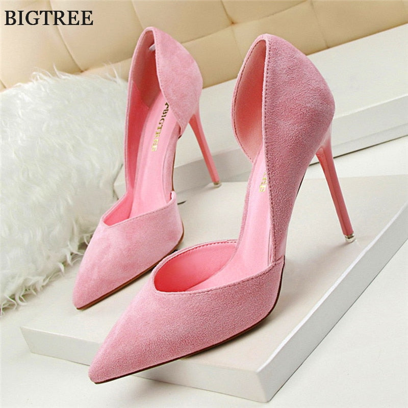 2018 New Women High Heels Fashion Sexy Shallow Women Pumps Solid Flock Pointed Toe High Heels Shoes Women Shoes Wedding Shoes
