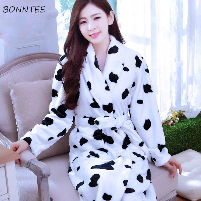 Robes Long Kimono Women Bath Robe Flannel Winter Flower Printed Elegant Soft Warm Kawaii Sleepwear Womens Leisure Full Sleeve