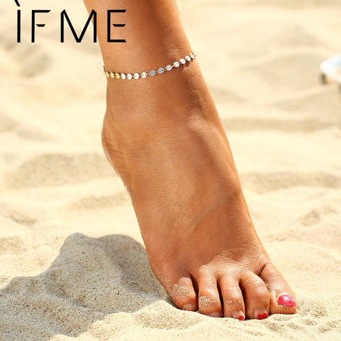 IF ME Punk Style Coin Anklets Gold Color Beach Summer Vacation Ankle  Bracelet Sandal Sexy Leg Chain Female Boho Crystal Anklets 838d0eb9f9bf