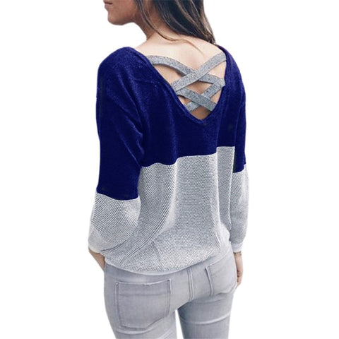 Two Style Backless Women Clothing Sweater Knitted Shirts Fashion Patchwork  Pullovers Long Sleeve Jumper Winter Autumn Top GV151 509890047c11