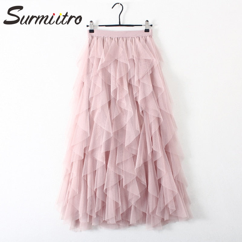 Surmiitro Irregular Tulle Skirt Women 2019 Autumn Winter Korean Elegant High Waist Pleated Skirt Female A-line Long Maxi Skirt