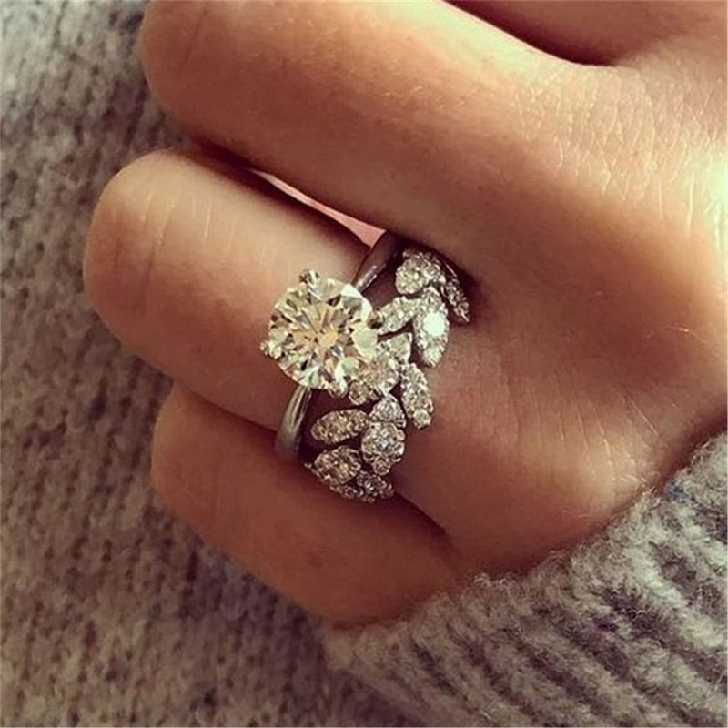 IPARAM New Design Shiny Round Zircon Flower Female 2PC Ring Luxury Silver Leaf Ring Wedding Zircon Brand Jewelry