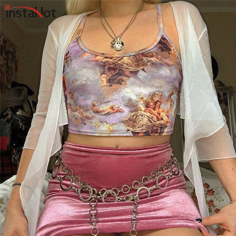 InstaHot Angel Print Sexy Spaghetti Strap Tops Women Purple 2019 Fashion Bustier Crop Top Summer Spring Ribbed Camisole Casual