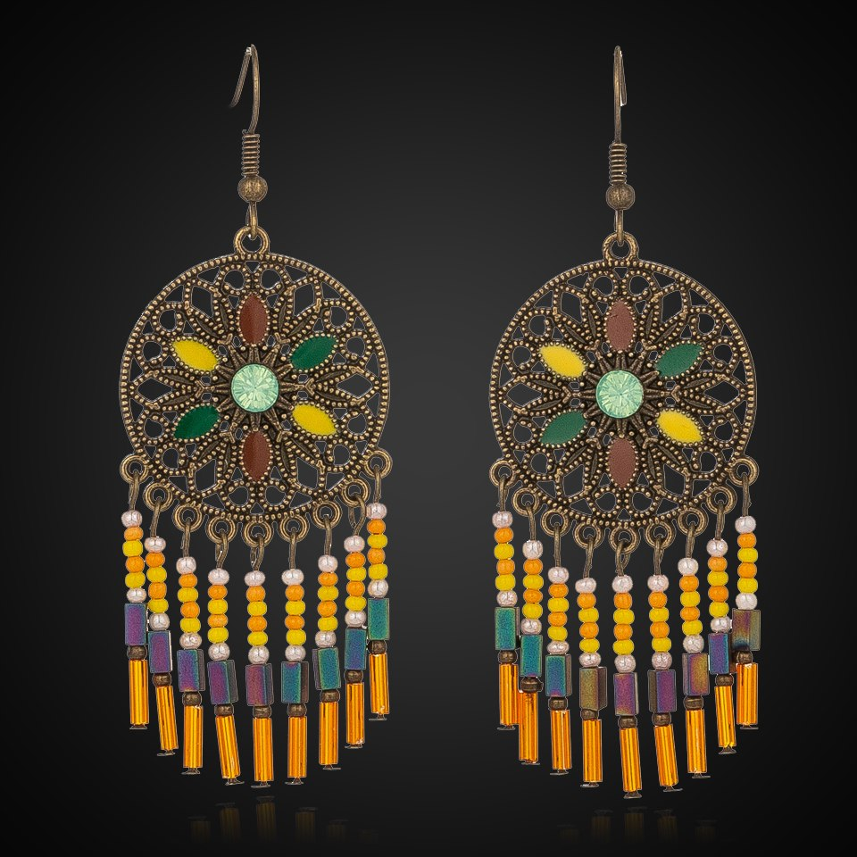 EXYNLON 2019new Acrylic Tassel earrings Bohemian woman's fashion jewelry Colorful oil drop shape trend Round flower pattern