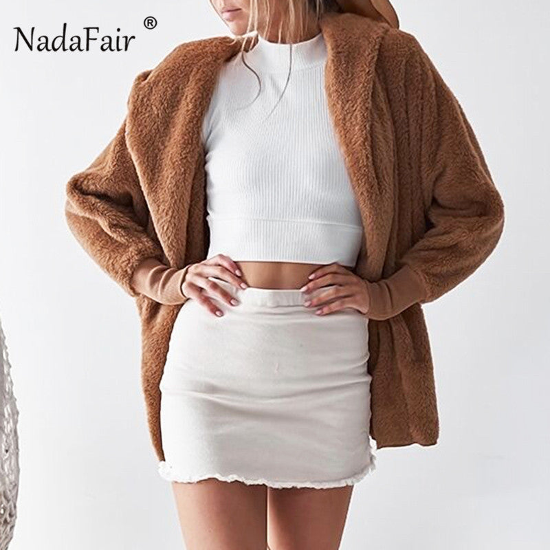 Nadafair flannel faux fur hooded jacket coats women loose cardigans 2018 autumn winter warm soft plush outwear casual overcoats