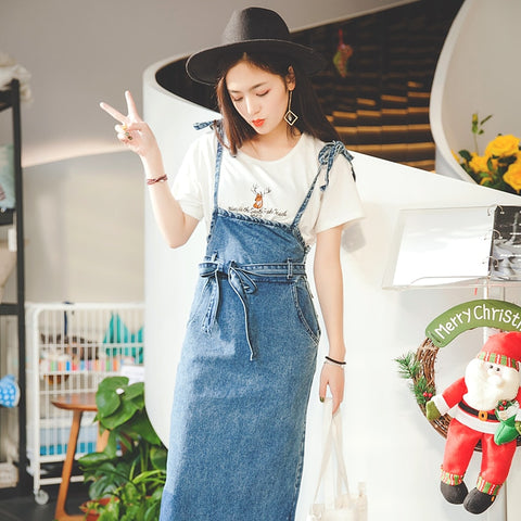 Korean New Womens Vintage Denim Sleeveless Dress Women Pockets Fashion Female Trendy Sundress Females Chic Students Solid Color