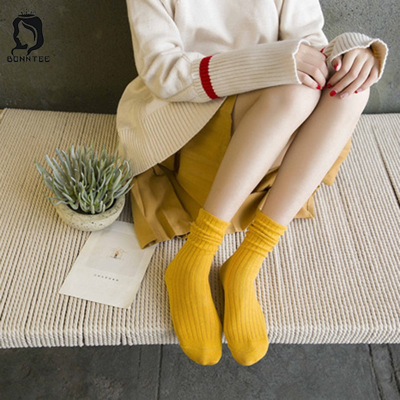 Cotton Funny Women Socks Candy Color System Womens Knitted Female Cute Japanese Style Kawaii Heap Sock Females Students Trendy