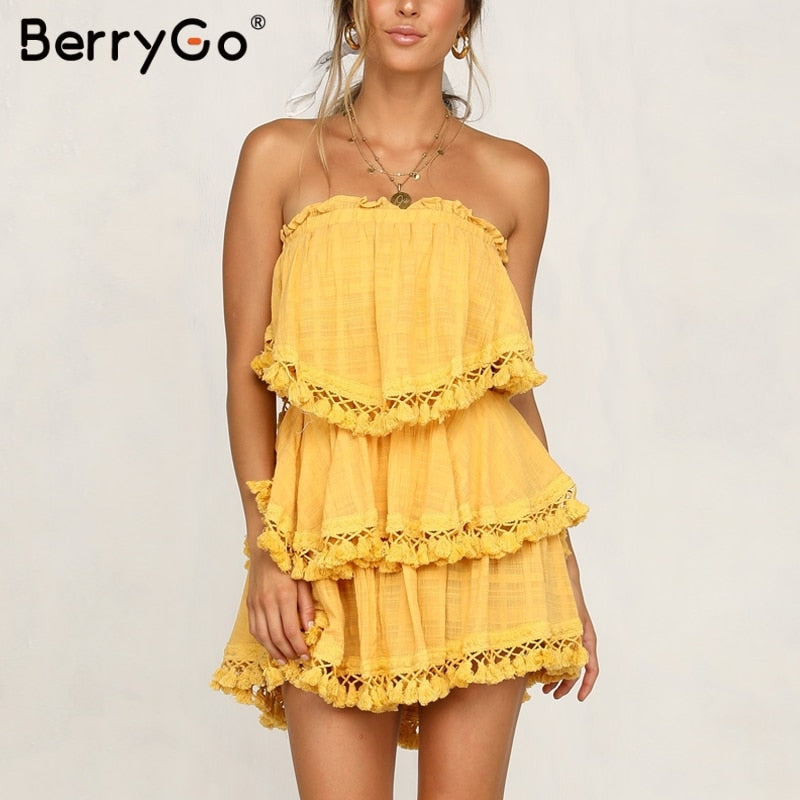 Berrygo Women Jumpsuit Off Shoulder Ruched Linen Jumpsuit Summer Tassel Plus Size Romper Sexy Holiday Beach Overall Jumpsuts Rompers