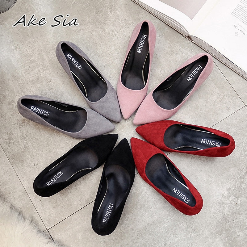 6cf97b36f96 2019 autumn new Korean version of the pointed lady sexy high heels black  with thick with