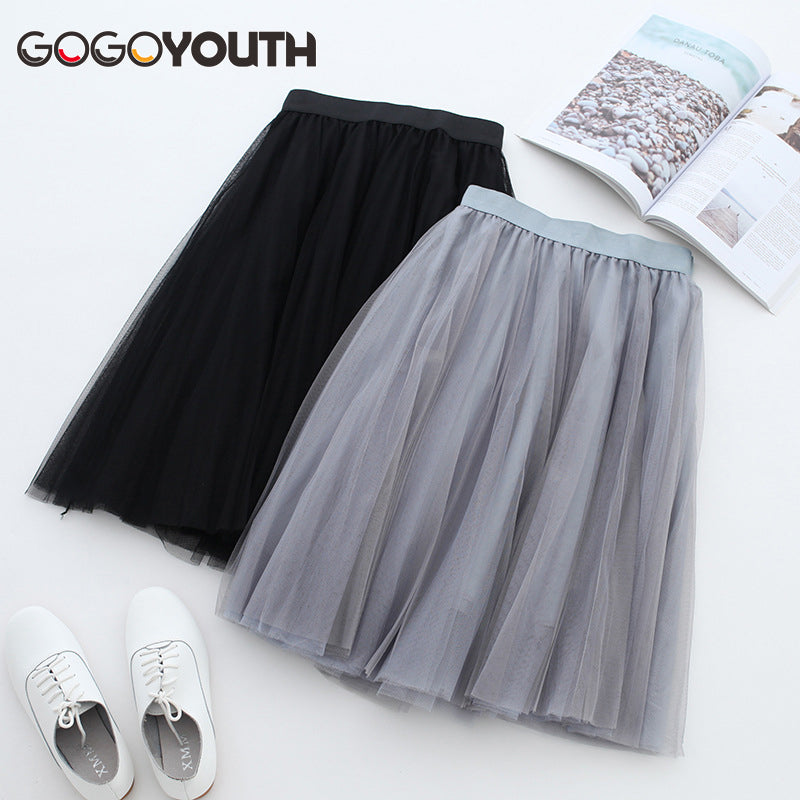 Gogoyouth High Waist Tulle Skirt Women 2019 Summer Korean Elegant A-line Pleated Skirt Midi Knee Length Sun School Skirt Female