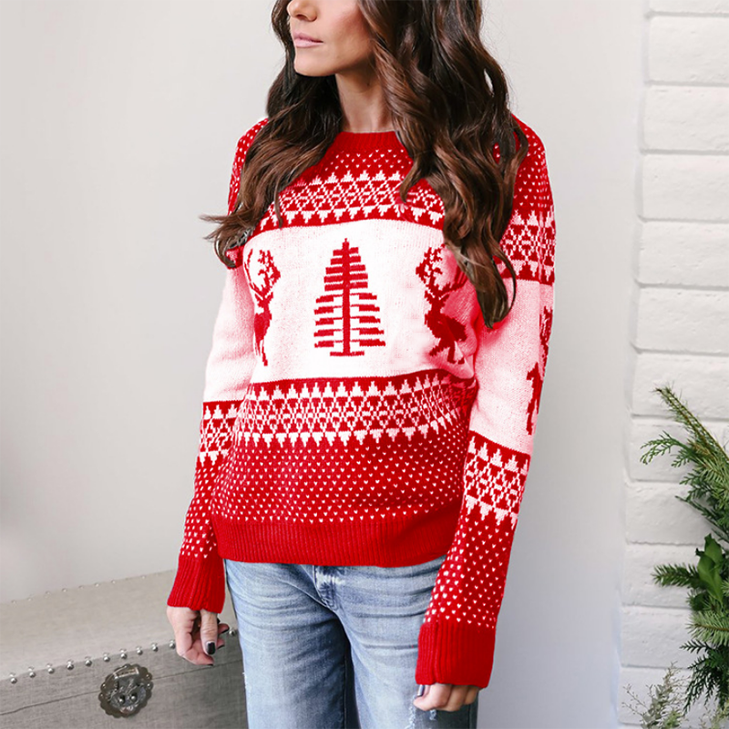 ZHYMIHRET 2018  Christmas Deer Knitted Sweater For Women Autumn Korean Long sleeve O Neck Pull Femme Pullovers Cloth