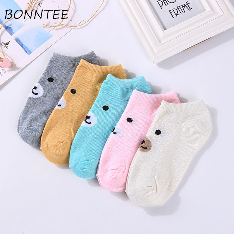Socks Women Cartoon Printed Casual Kawaii Breathable Cotton Chic Cute Animal Womens Short Funny Sock Soft Girl All-match Fashiom