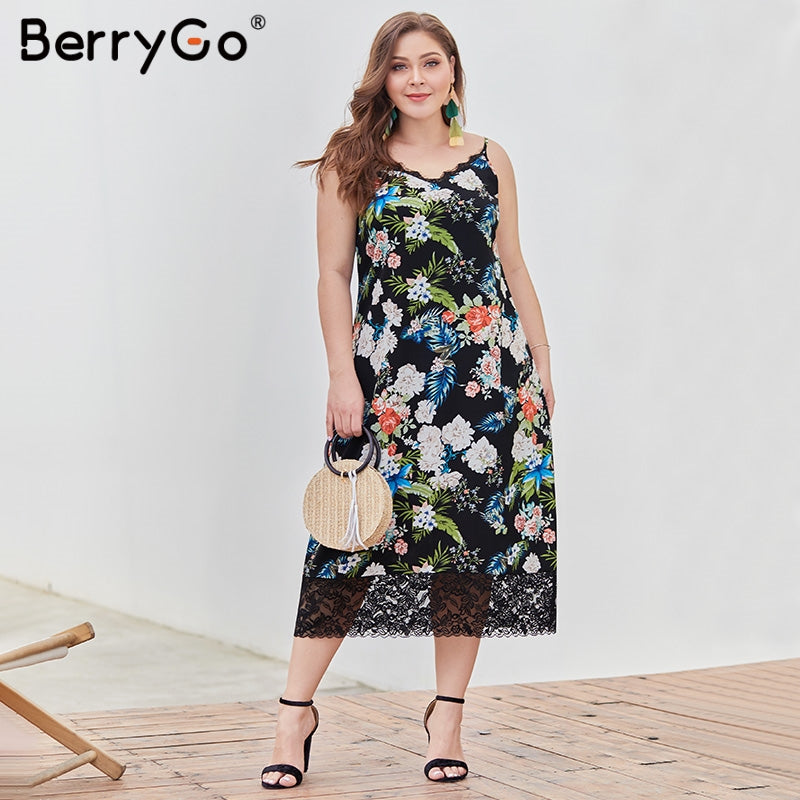 women dresse Elegant lace floral plus size dress V-neck spaghetti strap long vestidos Sexy summer holiday ladies dresses