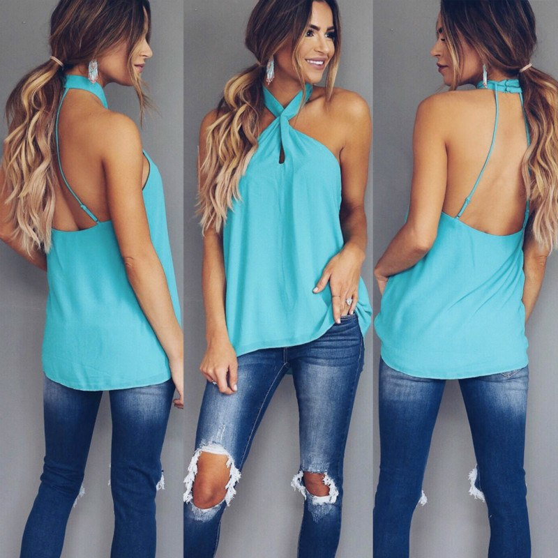 2e99cb76b0716 New Summer Sexy Sleeveless Ladies Tops 2018 Fashion Halter Backless Women  Blouse Casual Solid Color Loose