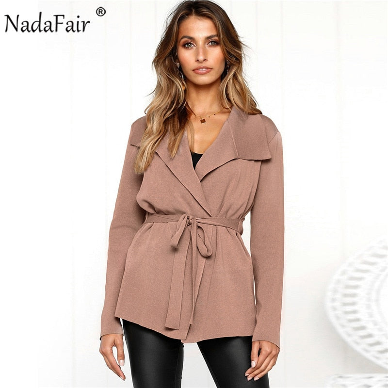 Nadafair long sleeve turn-down collar knitted coat women casual sash lace up outerwear women autumn slim solid open stitch tops
