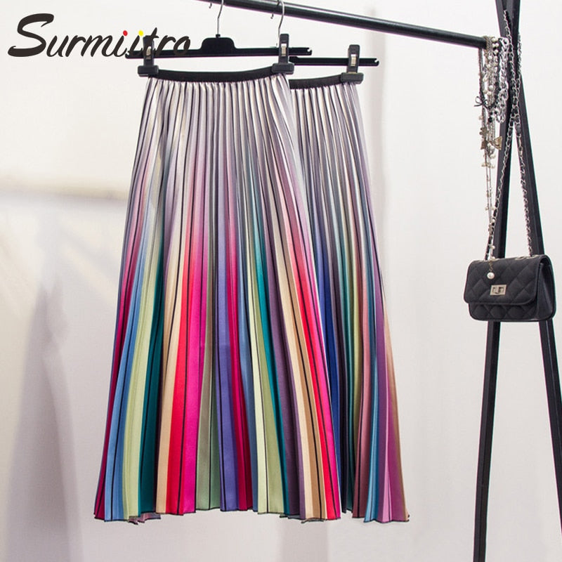Surmiitro Rainbow Pleated Long Skirt Women 2019 Spring Summer Fashion Korean High Waist Skirt Female A-line Sun School Skirt
